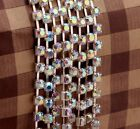 1m Alloy Silver/Golden Plated Cube AB glass Crystal Rhinestone 4mm Close Chain
