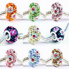 FASHION FLOWER CZECH CRYSTAL 925 SILVER CORE CHARM EUROPEAN BEADS FIT BRACELET