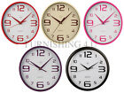 ROUND WALL CLOCK  WITH ANALOGUE DISPLAY PLASTIC RED CREAM HOT PINK PURPLE BLACK