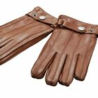 ELMA Men's Fashion Real Nappa Leather Gloves with Buckle around Cuff