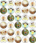 ABNEY AND TEAL BIRTHDAY PARTY EDIBLE CUP CAKE TOPPER DECORATIONS - RICE PAPER