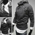 NWT new Mens Slim Coat Jacket shoulder zip Hoodie XS/S/M/L black grey white