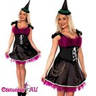 Ladies Moonlight Wicked Witch Fancy Dress Scary Halloween Costume Outfit & Hat