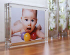 ACRYLIC 30MM MAGNETIC DESK PHOTO BLOCK 6x4,7x5,8x6 baby christening wedding gift
