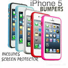 PREMIUM BUMPER CASE COVER FITS FOR IPHONE 5 WITH METAL BUTTON & SCREEN PROTECTOR
