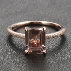 CLAW PRONGS 14K Rose Gold Emerald Cut Morganite .16ct Diamond Engagement Ring