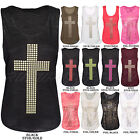 NEW WOMENS LADIES STUDDED CROSS PRINT T SHIRT LONG VEST TOP SIZE 8 10 12 14