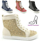 LADIES SNEAKERS FLAT LACE UP STUDDED DIAMANTE ANKLE WOMENS HIGH TOP TRAINERS 3-8