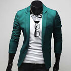 Trendy Men's Slim fit Stylish One Button Casual Suit Blazer Coat Jacket IN 4Colr