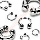 316L Surgical Steel Ball Horse Shoe Bar Circular Ring Body Piercing Jewellery