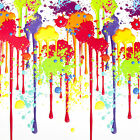 PAINT SPLAT MULTI-COLOUR PVC VINYL WIPE CLEAN TABLECLOTH FREE SAMPLES AVAILABLE