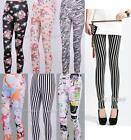 Hot Sexy Women Lady Graffiti Printed Skinny Elastic Stretchy Tight Legging Pant