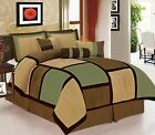 7 Pieces Sage Brown & Beige Micro Suede Patchwork Comforter Bedding Set image