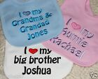 Personalised Baby Bib, Quailty Embroidered bib Gift - ANY WORDING - I ♥ my...