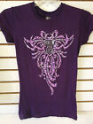 "Ladies ""Biker For Life"" Silver Foil Classic Cut Tee Plum"