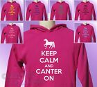 Pink Hoodie KEEP CALM and CANTER ON Horse Riding girls womens Pony Ride hoody