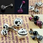 Skull Head Stainless Steel Barbell Belly Navel Rings Bars Body Piercing Jewelry