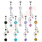 CZ Vine Belly Button Bar Ring Barbell Navel Dangle Body Piercing Jewellery
