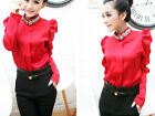 office lady faceted stones stand collar bubble sleeve shirt blouse top  RED