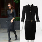 Black Sexy Thin Stand-Up Collar 3/4 Sleeve Slim Belted Pencil Dress Epaulette