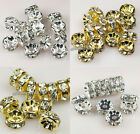 100pcs 4mm,6mm,8mm,10mm Rondelle Straight rhinestone crystal spacer beads A+