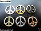 20Pcs Smooth Solid Steady Metal Peace Sign Bracelet Connector Charm Beads 23mm