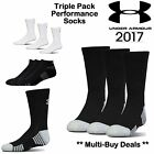 UNDER ARMOUR SOCKS HEATGEAR WHITE *TRIPLE PACK PAIRS* CREW SOCKS MENS SIZE 9-12