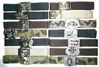 BELT WITH BUCKLE PIRATE SKELETON SKULL REAPER LUCKY 13 SPIDER WINGS CAMO BLACK