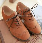 Ladies Womens Genuine Leather Lace Up Cuban Heel Brogue Oxford Casual Shoes #161