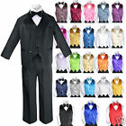 Baby Boy Formal Wedding Party 7pc Black Suit Tuxedo + Royal Blue Vest Tie S-4T