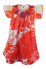 MONSOON RED/PINK FLUTTER SLEEVE COTTON DRESS WITH BEADING AT NECKLINE