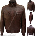 Mens Brown Soft Real Leather Retro Urban Biker Style Zipped Casual Bomber Jacket