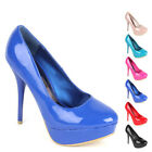 Elegante Damen Pumps High Heels 97188 Lack Plateau Schuhe 36-41 New Look