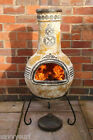 Mexican Clay Chimenea Mayan Aztec Chiminea Patio Heater Fire Bowl Barbeque Stove