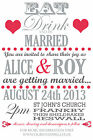 Personalised vintage text Wedding Invitations Invites