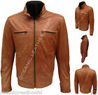 Mens Tan Soft Retro Urban Biker Style Zipped Casual Bomber Real Leather Jacket