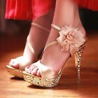 Glitter Lace Flowers Party Queen Strappy Sandals High Heels Wedding Shoes