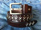 METAL STUDED BROWN GENUINE LEATHER WOMENS MENS ROCK BIKER BELT Size available