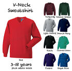 Boys Girls School Jumper V Neck Sweatshirt Uniform Age 3 4 5 6 7 8 9 10 11 12