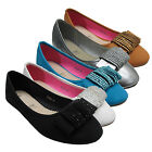 WOMENS FLAT LADIES BALLERINA BALLET DIAMANTE LOAFER SLIP ON PUMPS SHOES SLIPPERS
