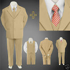 Boy Baby Toddler Formal Wedding Party Khaki Stone Suit Tuxedo Ext Tie Set S-4T