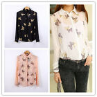 Women's Printing Butterflies Lapel Metal Collar long-sleeved Shirt Tops Blouse