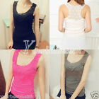 Sexy Woman Lace Tank Top Bodycon Hollow-Out Crochet cami Vest Sleeveless