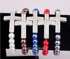 Fashion Solid Pearl Bracelet Chain With Bright Crystal Cross Elastic Bracelet