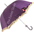 Luxury Ladies Polka Dot Walking Umbrella AUTO OPEN Pink Purple Red Dome Brollie