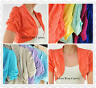 PLUS SIZE WOMEN'S CROPPED BOLERO RUCHED SHRUG CARDIGAN JACKET TOP 1X 2X 3X