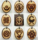 "SALE ETHNIC INSPIRED MENS WOMENS 21"" ADINKRA SYMBOL AFRICA NECKLACE WOOD PENDANT"