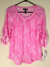 NEW Lauren by Ralph Lauren Roundhill Scoop Neck Pajama Sleep Top 819478 Pink L/S