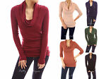 Soft Comfy Cowl Neck Long Sleeve Stretch Causal Blouse Tunic Knit Top