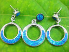 925 sterling silver blue created OPAL open round circle pendant + earrings SET